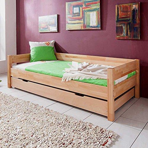 Pharao24 Kinderbett aus Buche Massivholz 90x200 cm Bettkasten Nein