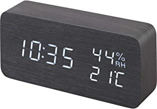 【1年保証有】 アイリスオーヤマ 置き時計 デジタル 目覚まし時計 めざまし時計 置時計 時計 木製 おしゃれ 多機能 ブラック ICW-01WH-B