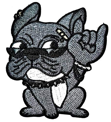 PARITA Cute French Bulldog Pitbull Punk Rock Puppy Dog Gray Cartoon DIY Sewing on Iron on Embroidered Applique Patch Emblem Fabric Hat Bag Backpacks Clothing or Reward Gift Kids Adults