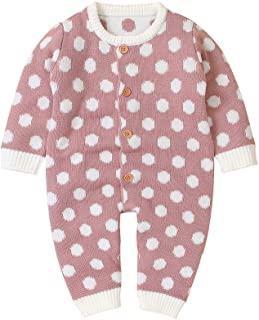 Newborn Baby Boy Girl Knitted Clothes Long Sleeve Romper Jumpsuit Bodysuit Infant Baby Polka Dot Pajamas 0-18M