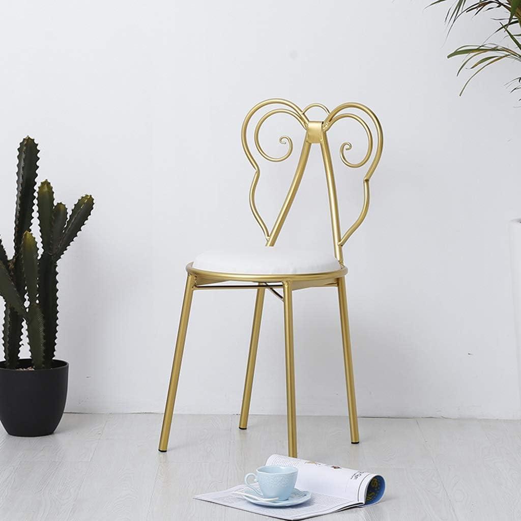 Chaise de restaurant moderne chaise de loisirs Chaise à clous en fer forgé créative (Couleur : Pink) Pink