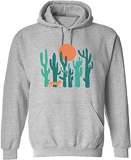 CCANE7 Men's Sudadera con Capucha Personalizada Fox Cactus Divertido gráfico Sudadera con Capucha