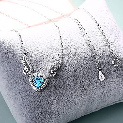 WYBXZ Angel Wings Love Heart Necklaces for Women Topaz Amethyst Peridot Love Heart Alloy Diamond Clavicle Necklace Anniversary Birthday Jewelry Gifts Crystal Pendants for Wife Girlfriend