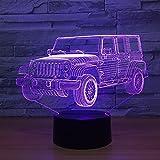 Acrílico Jeep Car 3D Night Light Novedad Regalos 7 colores que cambian LED Lámpara de mesa de escritorio Lámparas de ilusión 3D para niños Regalos