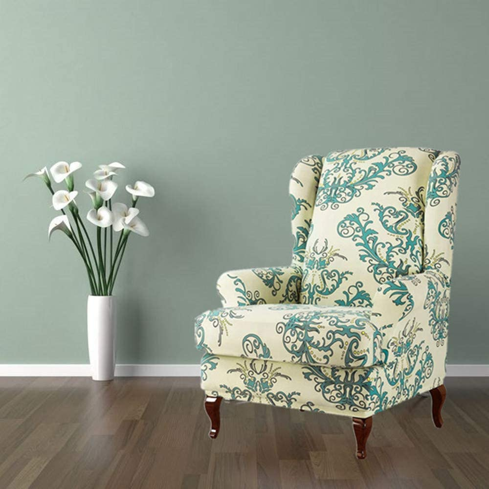 List price Wingback Chair Cover 2 Special Campaign Piece Stretchy Armchair Floral Prin