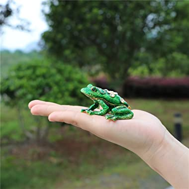 Waltz&F Back drill frog Trinket Box Hinged Hand-painted Animal Figurine Collectible Ring Holder