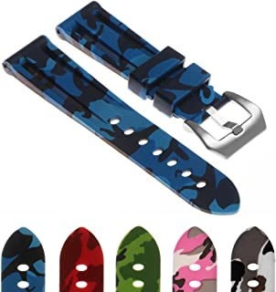 StrapsCo Camo Silicone Rubber Watch Band Strap with Brushed Stainless Steel Pre-V Buckle 22mm 24mm 26mm
