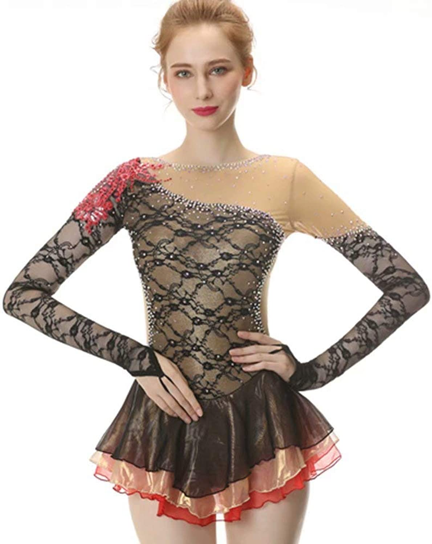 BINGHUOZHIWU Black Figure Skating Dress LongSleeved Ice Skating Dress Spandex Lace Skirt