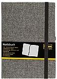 Idena 10503 - Notizbuch FSC-Mix, 140 x 200 mm, kariert, Papier cremefarben, 240 Seiten, 80 g/m², Textil Hardcover in grau, 1 Stück