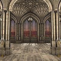 lfeey 5x 5ft Gothic Cathedral Interior 3dバックドロップの写真照明キャンドルマジェスティック対称ビュー古代アーチHistorical建物ピラー背景写真ブース小道具
