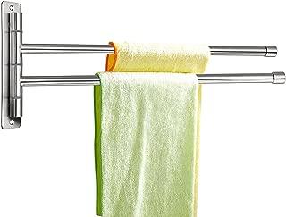 Sumnacon Wall Mounted Swing Towel Bar - Silver Stainless Steel Bath Towel Rod Arm, Bathroom/Kitchen Swivel Towel Rack Hanger Holder Organizer, Folding Space Saver Towel Rail (2 Bar)