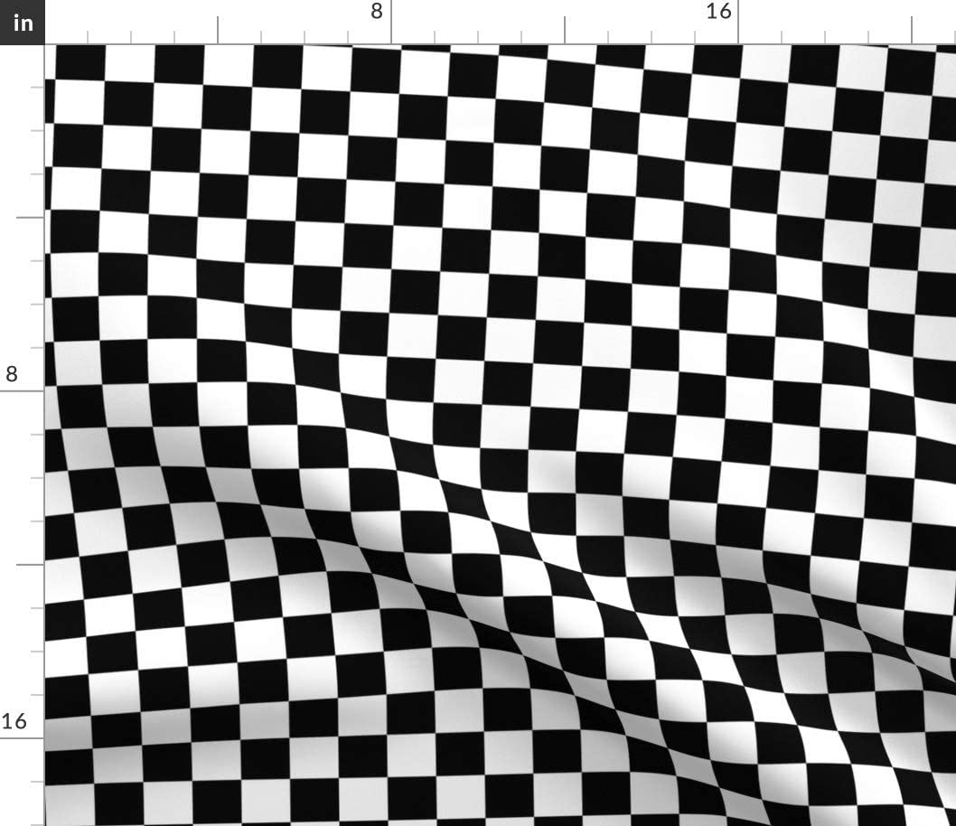 Spoonflower Fabric - security Inch Black 2021 spring and summer new Geometric Checkered Square White