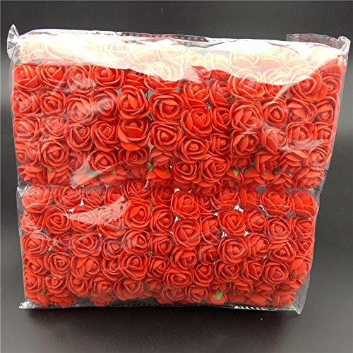Künstliche Schaumstoffrosen, 144 Stück, farbechte Schaumrosen, künstliche Blumenköpfe, Hochzeit, Brautparty rot