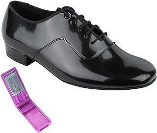 Very Fine Ballroom Latin Tango Salsa Dance Shoes for Men C917101 1 inch Heel + Foldable Brush Bundle