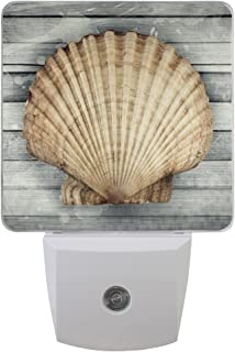 Naanle Set of 2 Marine Sea Life Scallop Shell On Old Vintage Wooden Nautical Theme Seashell Auto Sensor LED Dusk to Dawn Night Light Plug in Indoor for Adults