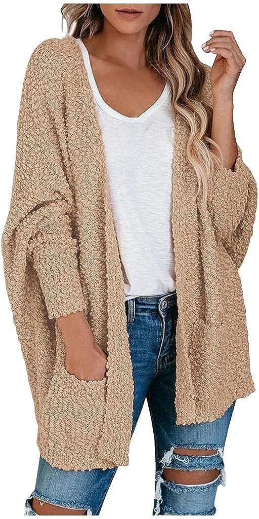 Cardigan Sweaters for Women,Women's Fuzzy Popcorn Cardigan Batwing Sleeve Open Front Chunky Pockets Sweater Outwear