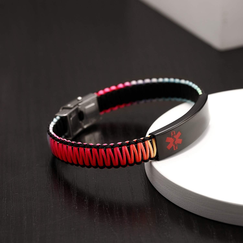 Adjustable Free Engraving Customize Medical Alert ID Bracelet for Women Girls Stainless Steel with Nylon-Rope Braided Allergy Alert Bracelet