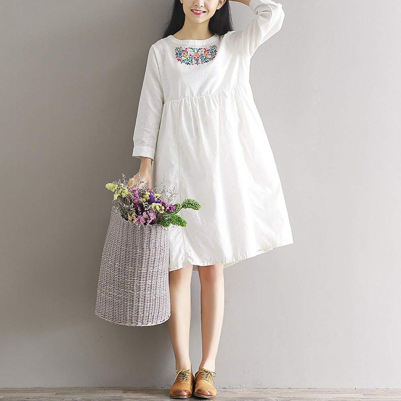 Cxlyq Dresses Embroidered Loose Cotton ALine Dress