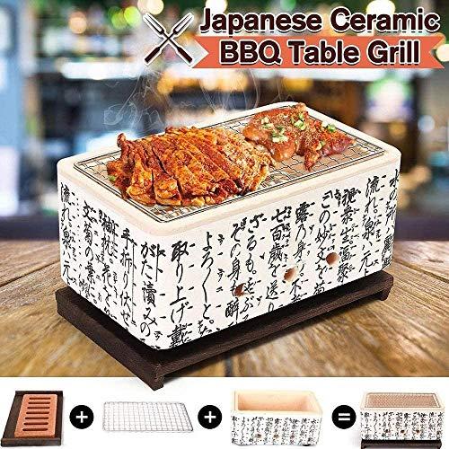 XIAOWANG Mini Japanese BBQ Grill, beweglicher Indoor/Outdoor Holzkohlegrill mit Massivholz-Tablett, Platz Barbecue Mud Ofen mit kühlem Text