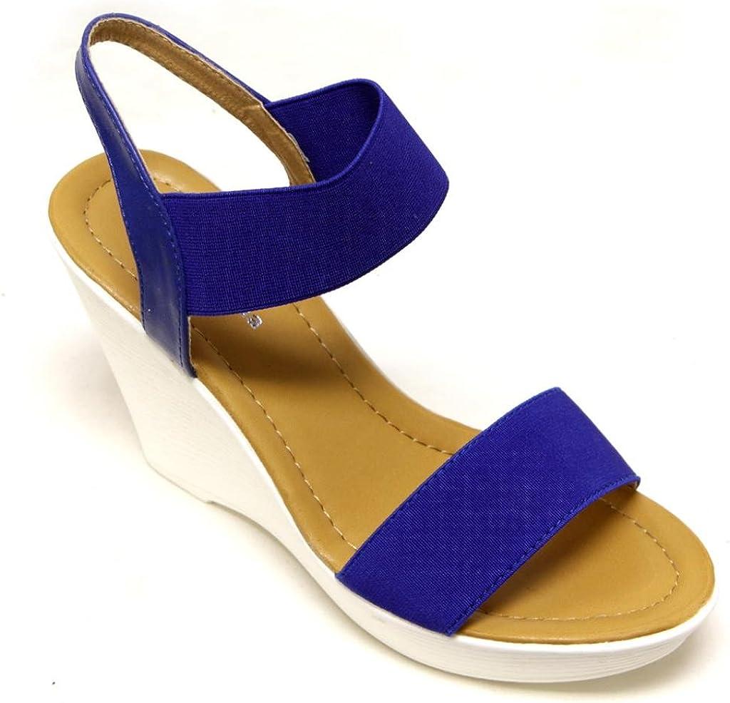 TOP Moda CP-52 Women's Platform Wedge Heel Single Canvas Band Slingback Ankle Strap Sandals