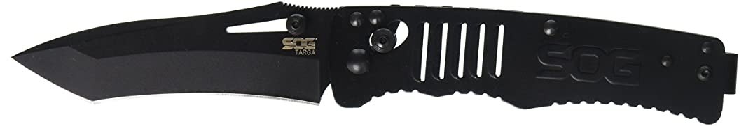 SOG Specialty Knives & Tools TG1002-BX Targa, 3.5-Inch Striaght Edge Tanto Blade, Arc-Lock Folding Knife, Black TiNi Finish