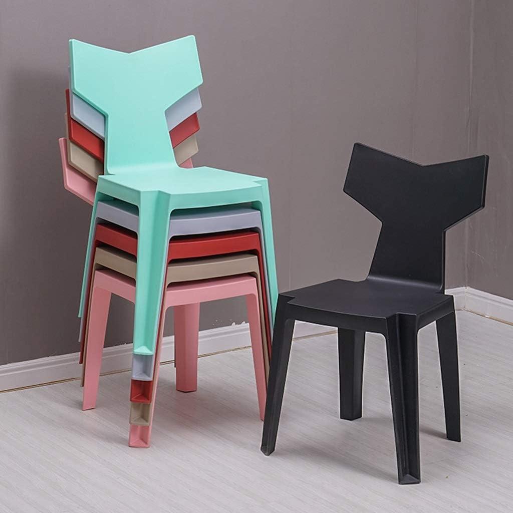 Chaise de salle à manger simple et moderne, dossier de maison, tabouret, créative, chaise en queue de poisson (Color : Pink) Black