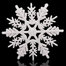 """Huangliao Large Snowflakes Set of 5 White Glittered Snowflakes Approximately 12"""" D -Two Asst Designs Christmas Decorative ..."""