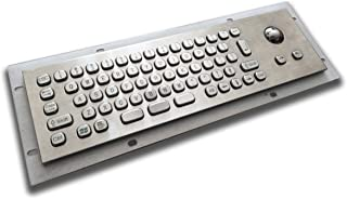 Mini Size Metal Keyboard with trackball - 293x87mm - USB - US Layout - for Kiosks and Industrial terminals