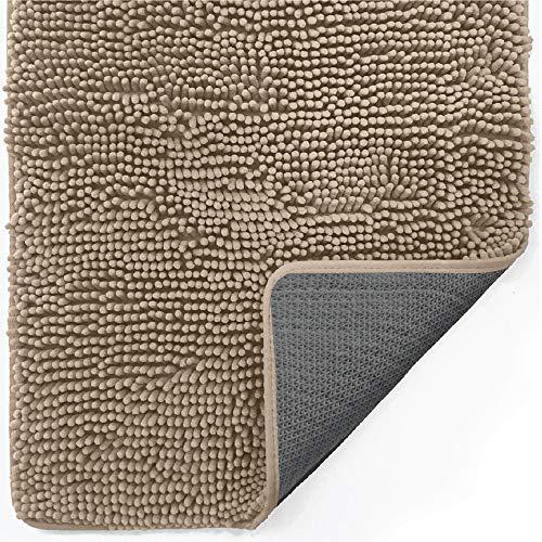 Gorilla Grip Indoor Durable Chenille Doormat, 30x20, Soft Absorbent Mat, Machine Wash Inside Mats, Low-Profile Rug Doormats for Entry, Back Door, Mud Room, Garage Floor, Home Décor Essentials, Beige