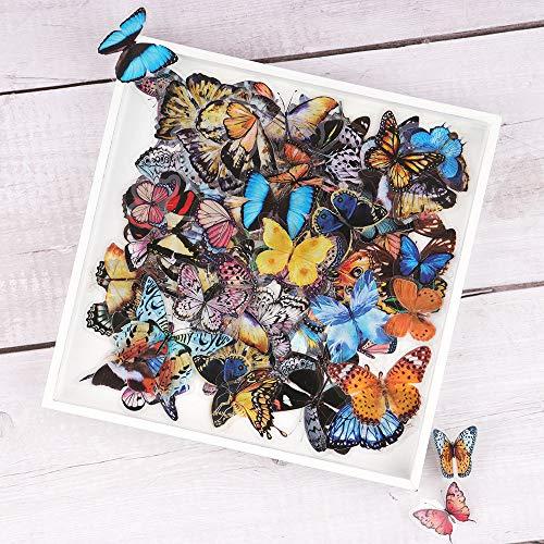 Adesivi per Scrapbooking, NogaMoga 160 Pezzi Farfalle Trasparenti Stickers Murali Decorativo per Computer Portatili, Deco Calendario Fai-da-Te, Album Foto, Agende, Quaderni