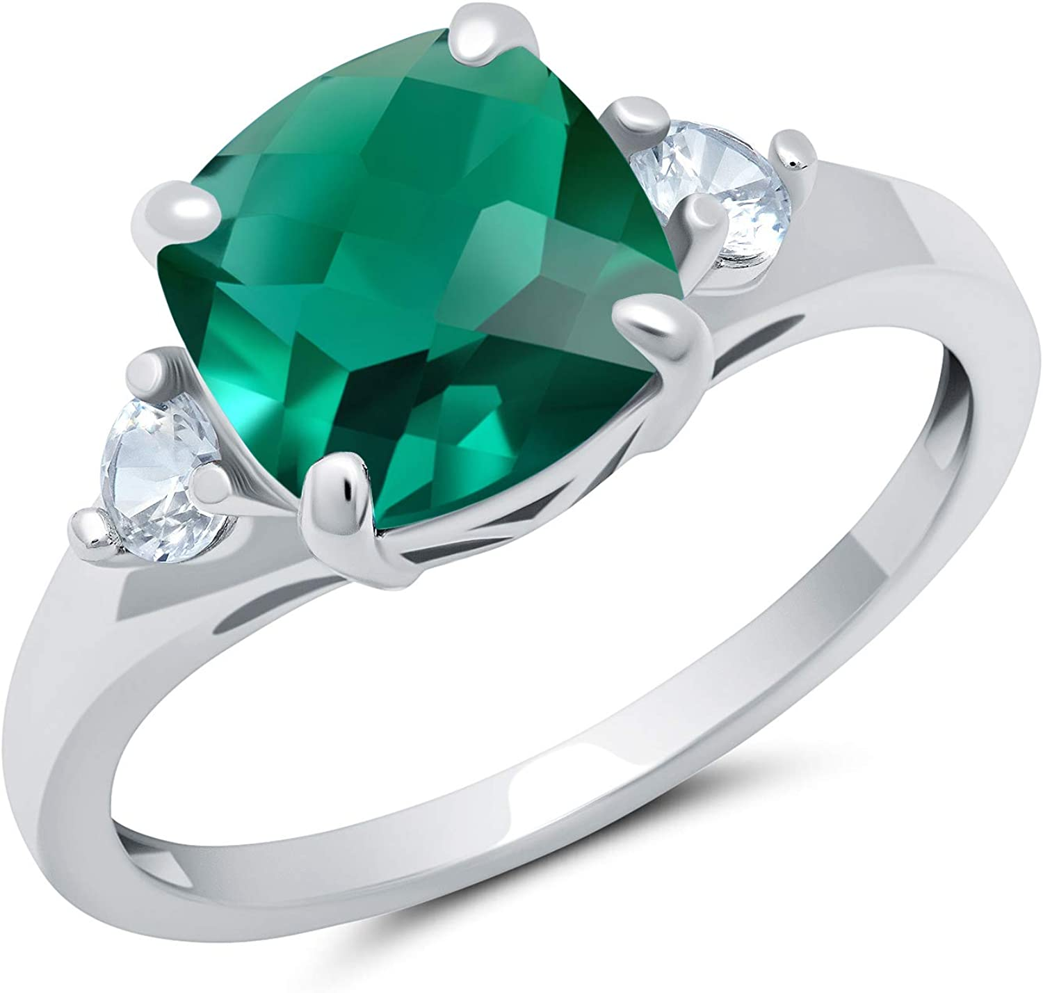 Solid 10K Yellow or mart White Gold Cushion Created Popular standard B Cut May Emerald