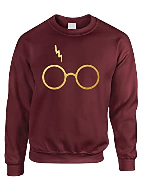 ALLNTRENDS Adult Sweatshirt Harry Glasses Scar Gold Print Popular Top
