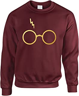 Adult Sweatshirt Harry Glasses Scar Gold Print Popular Top