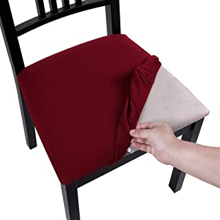 Homaxy Premium Jacquard Dining Room Chair Seat Covers, Washable Spandex Stretch Dinning Chair Upholstered Cushion Cover, Waffle Slipcover Protectors with Ties - Set of 4, Burgundy