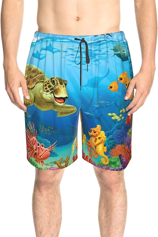 Men's Swim Trunks Ocean Sea Turtles Fish Reef Bathing Suit Boardshorts Quick Dry Cool Beach Swim Trunk with Mesh Lining