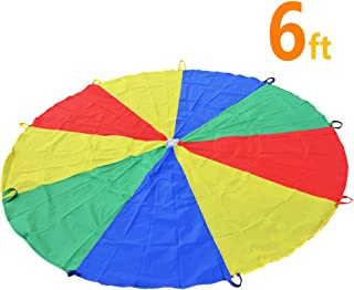 Sonyabecca Parachute for Kids 6` with 9 Handles Game Toy for Kids Play