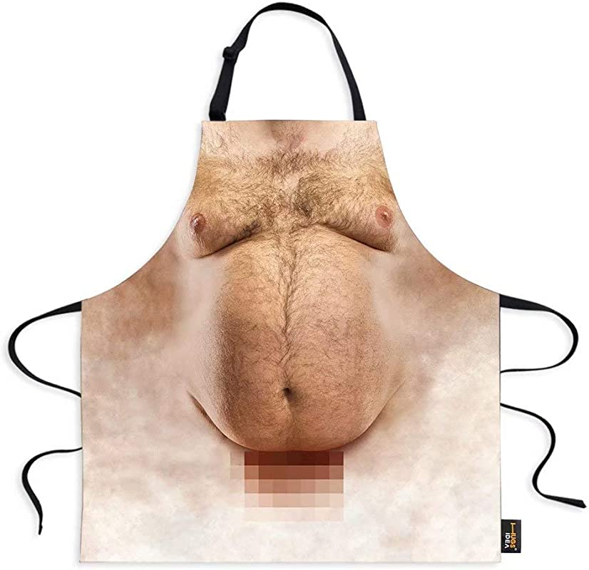Dellukee Funny Kitchen Aprons For Women Men Hairy Belly Theme Image Stylist Cute Chef Adjustable Neck Aprons For Home Restaurant BBQ 29 5 X 26 3