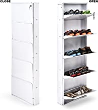"ORRIL 21"" 5 Door Powder Coated Steel Shoe Rack (Full White)"