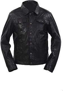 Infinity Men's Trucker Slim Fit Casual Black Leather Shirt Jeans Jacket