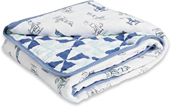 Aden by Aden + Anais Muslin Blanket, 100% Cotton Muslin, 4 Layer Lightweight and Breathable, Large 44 X 44 inch, Sky High
