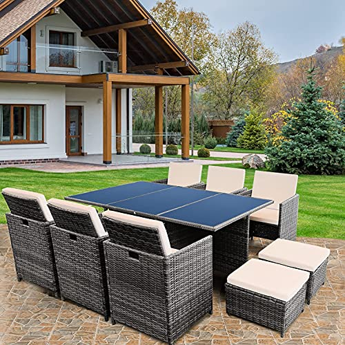 KEPLIN 11pc Rattan Garden Furniture Set – Outdoor Lounger Sofa, Chairs and Table Bistro Set for Lawn, Patio, Inside Conservatory – Easy to Store, Stackable, Ideal for Dining in the Sun - GREY