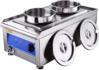 Commercial Restaurant Steam Table Food Warmer Electric Soup Buffet Countertop Kitchen Stainless Steel Dual Compartment 7.4 Qt. Pots with Lids