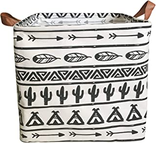 Square Cactus Storage Bins Canvas Collapsible Storage Basket with Handles Toy Organizer for Nursery, Kid's Toys, Closet & Laundry, Gift Basket (Black)