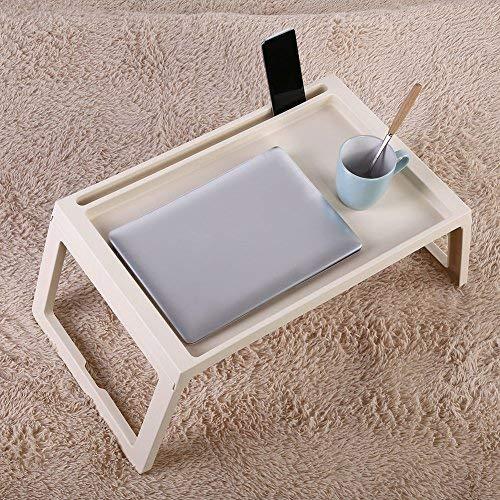 Plateau de Petit-Déjeuner Pliable avec Plateau pour Fauteuil, Ordinateur Portable, Support de Bureau pour Canapé, Table de Petit-Déjeuner, 54,5 x 36 x 27 cm (beige)