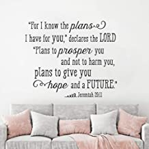 DIY Removable Vinyl Decal Mural Letter Wall Sticker Bible Verse Quote Jeremiah 29:11 I Know The Plans I Have for You Quote Home Decor