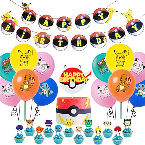 Pokémon Birthday Party Supplies Pack Includes pikachu Banner Cake Topper 24 Cupcake Toppers 20 Balloons for Pokémon party decoration