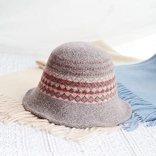 JCCOZ Ms. Hats, Wool Blend Knit Hat, Hat, Hat Literary Wind, Autumn Warm Hat, Foldable Hat, Clothing Accessories, (Color : E)
