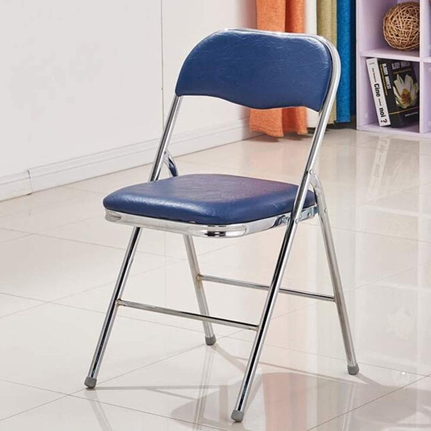 FENGFAN Folding Chairs with Leather Effect Seat and Silver Powder Coated Frame (color   bluee)