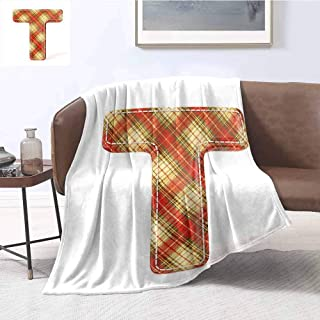 Luoiaax Letter T Children's Blanket ABC Symbol with Retro Revival Pattern Stitches Vintage Fashion Lightweight Soft Warm and Comfortable W60 x L70 Inch Vermilion Pale Yellow Brown