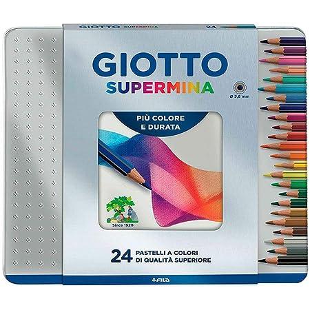 Giotto 236800 - Supermina Scatola Metallo 24 Pastelli Colorati, Multicolore